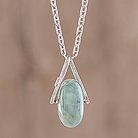 Jade pendant necklace, 'Light Green Wheel of Fortune'