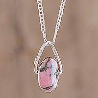 Rhodonite pendant necklace, 'Wheel of Fortune' - Round Rhodonite Pendant Necklace from Guatemala