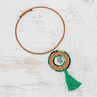 Jade pendant necklace, 'Harmony and Beauty in Viridian' - Jade and Pine Needle Pendant Necklace in Viridian