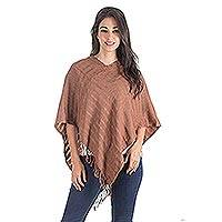 Cotton poncho, 'Seasonal Leaves' - Handwoven Cotton Poncho in Burnt Sienna from Guatemala