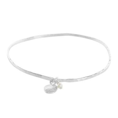 Guatemalan Fine Silver and Cultured Pearl Bangle Bracelet