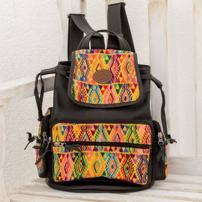 Leather and cotton backpack, 'Guatemalan Complexity' - Black Leather and Cotton Backpack from Guatemala
