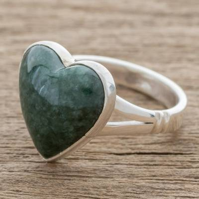 Jade cocktail ring, 'Love Dream' - Heart-Shaped Dark Green Jade Cocktail Ring from Guatemala