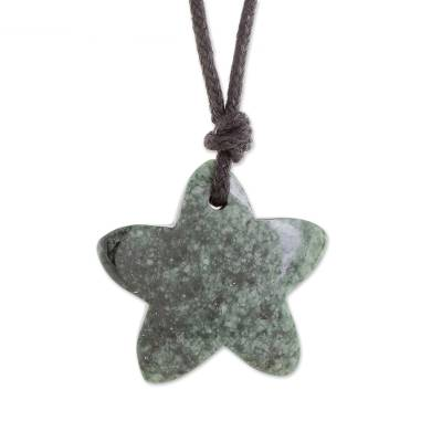 Jade Star Pendant Necklace in Green from Guatemala