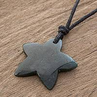 Jade pendant necklace, 'Natural Star in Dark Green' - Jade Star Pendant Necklace in Dark Green from Guatemala
