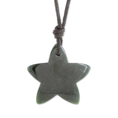 Jade Star Pendant Necklace in Dark Green from Guatemala