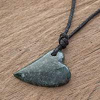 Jade pendant necklace, 'Mayan Love in Green' - Jade Heart Pendant Necklace in Green from Guatemala