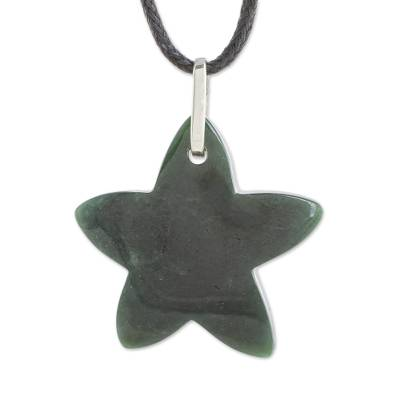 Jade Star Pendant Necklace in Dark Green from Guatemala