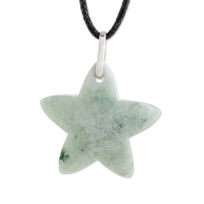 Jade Star Pendant Necklace in Apple Green from Guatemala