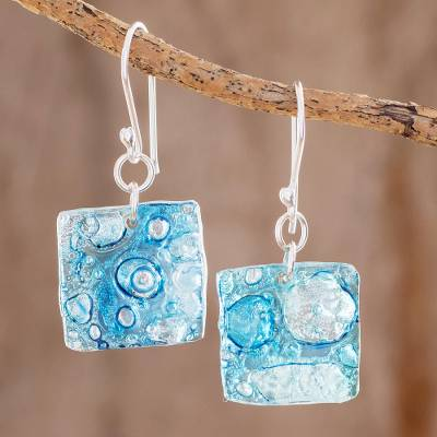 Recycled CD dangle earrings, 'Below the Sea' - Square Recycled CD Dangle Earrings from Guatemala