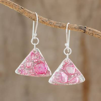 Recycled CD dangle earrings, 'Rosy Geometry' - Pink Triangular Recycled CD Dangle Earrings from Guatemal