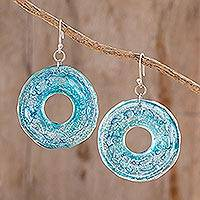 Recycled CD dangle earrings, 'Blue Donuts' - Circular Recycled CD Dangle Earrings from Guatemala