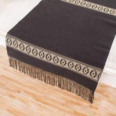 Cotton table runner, 'Beige Moon' - Handwoven Cotton Table Runner in Black from Guatemala