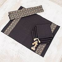Cotton table linen set, 'Beige Moon' (set for 4) - Cotton Table Linen Set for 4 in Black from Guatemala
