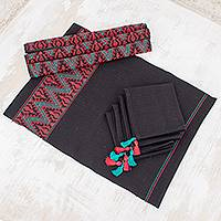 Cotton table linen set, 'Bright Zigzag' (set for 4) - Zigzag Motif Cotton Table Linen Set for 4 from Guatemala