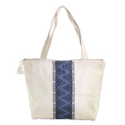 Handwoven Cotton Tote in Ivory from Guatemala