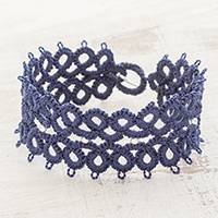 Hand-tatted wristband bracelet, 'Lines of History' - Hand-Tatted Wristband Bracelet in Indigo from Guatemala