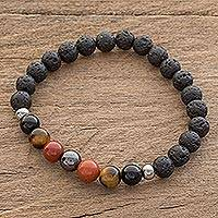 Men's multi-gemstone beaded stretch bracelet, 'Jaguar Color' - Men's Multi-Gem and Lava Stone Beaded Stretch Bracelet