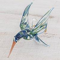 Blown glass figurine, 'Trochilinae Hummingbird' - Handblown Glass Blue and Green Humminbird Figurine