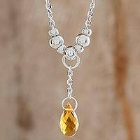 Crystal pendant necklace, 'Glittering Drop in Yellow' - Crystal Drop Pendant Necklace in Yellow from Costa Rica