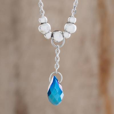 Crystal pendant necklace, 'Glittering Drop in Blue' - Crystal Drop Pendant Necklace in Blue from Costa Rica