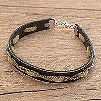 Men's faux leather wristband bracelet, 'Entwined Style' - Men's Faux Leather Wristband Bracelet from Costa Rica
