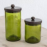 Recycled glass storage jars, 'Guatemalan Cuisine' (pair) - Recycled Glass Jars in Green from Guatemala (Pair)