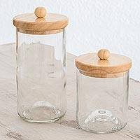 Recycled glass storage jars, 'Savory Guatemala' (pair) - Recycled Glass Jars from Guatemala (Pair)