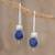 Lapis lazuli drop earrings, 'Night of Stars' - Lapis Lazuli Beaded Drop Earrings from Guatemala thumbail