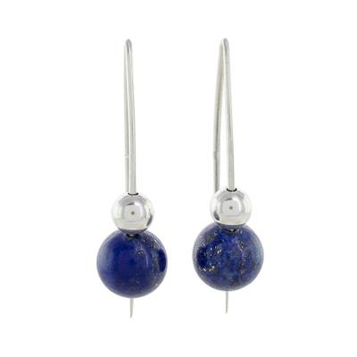Lapis lazuli drop earrings, 'Night of Stars' - Lapis Lazuli Beaded Drop Earrings from Guatemala