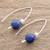 Lapis lazuli drop earrings, 'Night of Stars' - Lapis Lazuli Beaded Drop Earrings from Guatemala (image 2b) thumbail