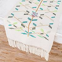 Cotton table runner, 'Vined' - Tree-Themed Cotton Table Runner from Guatemala