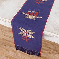 Cotton table runner, 'Christmas Gathering in Indigo' - Handwoven Christmas-Themed Cotton Table Runner in Indigo