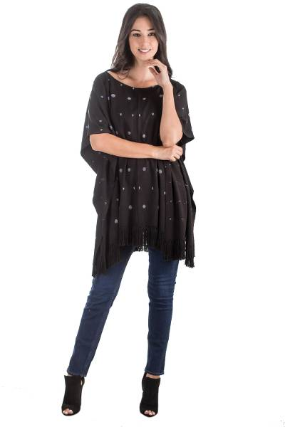 Rayon poncho, 'Diamond Night' - Handwoven Rayon Poncho in Black from Guatemala
