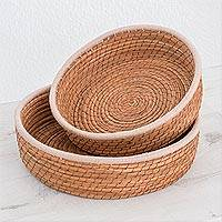 Pine needle baskets, 'Journey to Tecpan in Ivory' (pair) - Handmade Pine Needle and Cotton Baskets in Ivory (Pair)