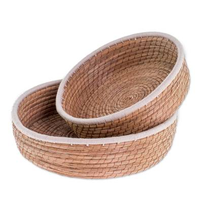 Handmade Pine Needle and Cotton Baskets in Ivory (Pair)