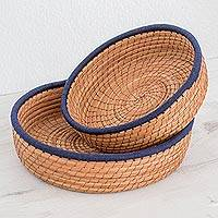 Pine needle baskets, 'Journey to Tecpan in Navy' (pair) - Handmade Pine Needle and Cotton Baskets in Navy (Pair)