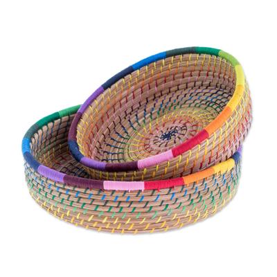 Handmade Pine Needle and Cotton Baskets in Rainbow (Pair)