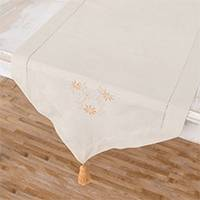 Cotton table runner, 'Flowers of Old in Eggshell' - Floral Embroidered Cotton Table Runner in Eggshell