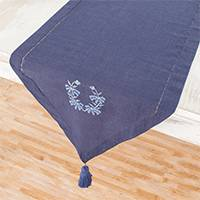 Cotton table runner, 'Flowers of Old in Midnight' - Floral Embroidered Cotton Table Runner in Midnight
