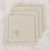 Cotton napkins, 'Flowers of Old in Eggshell' (set of 4) - Floral Cotton Napkins in Eggshell (Set of 4) from Guatemala