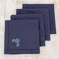 Cotton napkins, 'Flowers of Old in Midnight' (set of 4) - Floral Cotton Napkins in Midnight (Set of 4) from Guatemala