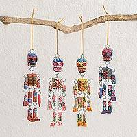 Wood ornaments, 'Colorful Tradition' (set of 4) - Wood Floral Skeleton Ornaments from Guatemala (Set of 4)