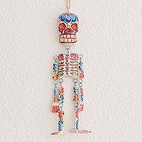 Wood wall ornament, 'Colorful Tradition in White' (11 in.) - Wood Floral Skeleton Wall Ornament in White (11 in.)