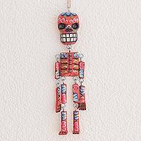 Wood wall ornament, 'Colorful Tradition in Red' (11 inch) - Wood Floral Skeleton Wall Ornament in Red (11 in.)