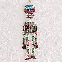 Wood wall ornament, 'Colorful Tradition in Black' (11 inch) - Wood Floral Skeleton Wall Ornament in Black (11 in.)