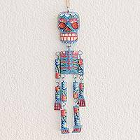 Wood wall ornament, 'Colorful Tradition in Blue' (11 in.) - Wood Floral Skeleton Wall Ornament in Blue (11 in.)