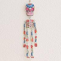 Wood wall ornament, 'Colorful Tradition in White' (15 in.) - Wood Floral Skeleton Wall Ornament in White (15 in.)