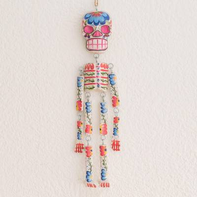 Wood wall ornament, 'Colorful Tradition in White' (15 inch) - Wood Floral Skeleton Wall Ornament in White (15 in.)