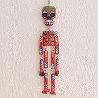 Wood wall ornament, 'Colorful Tradition in Red' (15 in.) - Wood Floral Skeleton Wall Ornament in Red (15 in.)